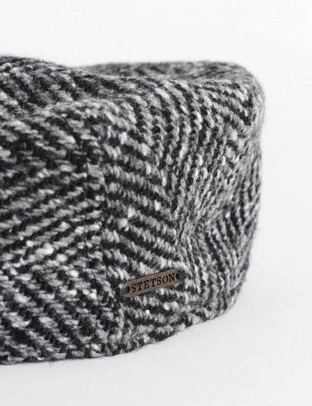 Stetson Madison Flat Cap - Black/Grey Herringbone