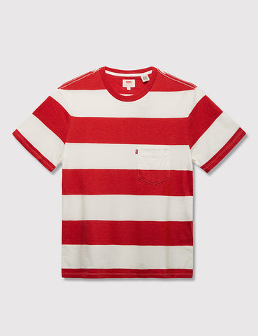 Levis Sunset Pocket T-shirt (Stripe) - Cherry Bomb Red