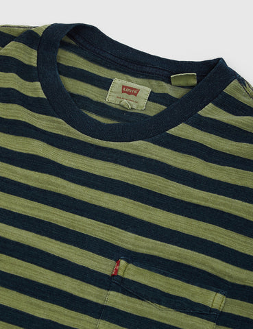 Levis Sunset Pocket T-shirt (Stripe) - Navy/Sea Green