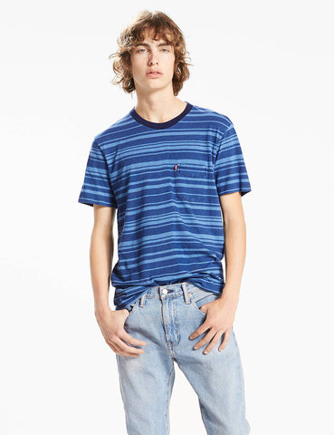 Levis Sunset Pocket Stripe T-Shirt - Light Indigo Blue