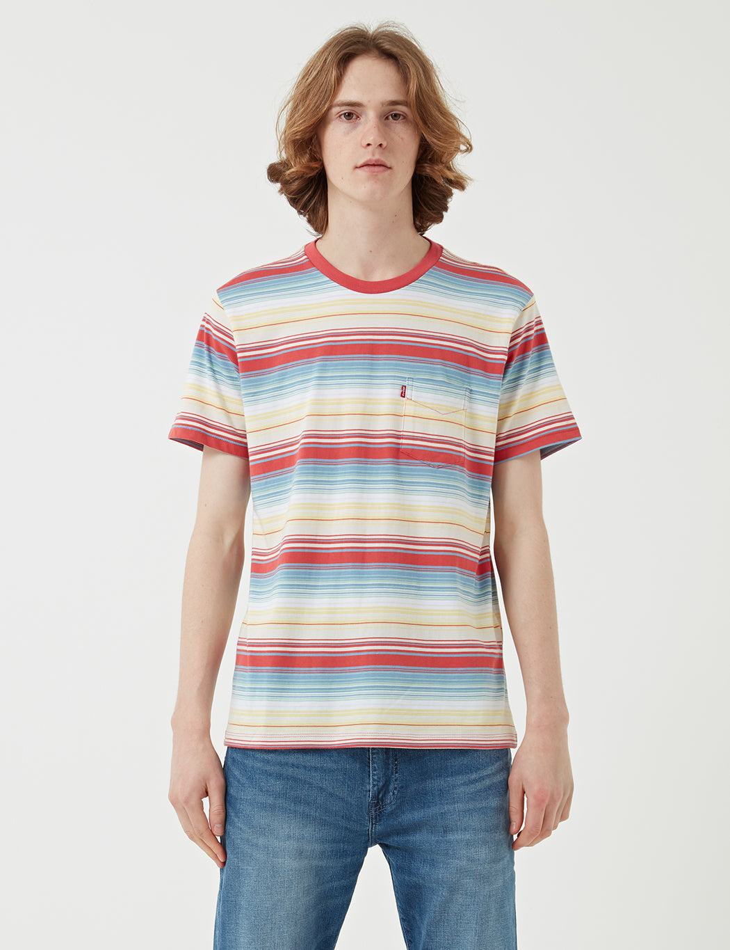 Levis Sunset Pocket T-shirt (Stripe) - Fiesta Stripe