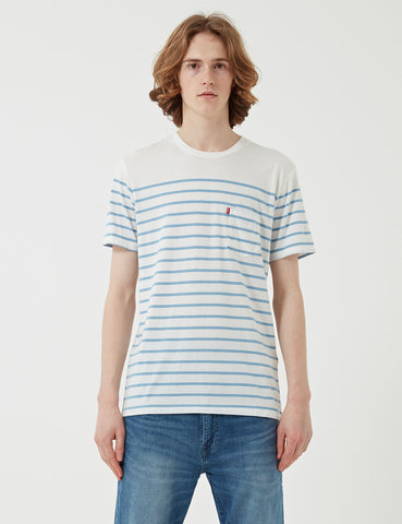 Levis Sunset Pocket T-shirt (Stripe) - Supima Marshmallow/Allure Stripe