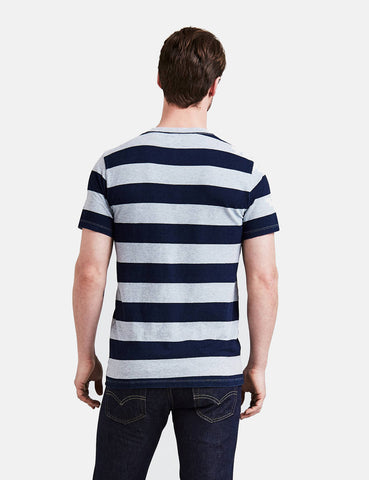 Levis Set-In Sunset Pocket T-shirt (Stripe) - Indigo/Grey Heather