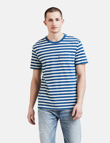 Levis Set-In Sunset Pocket T-shirt (Stripe) - Cream Heather / Light Indigo