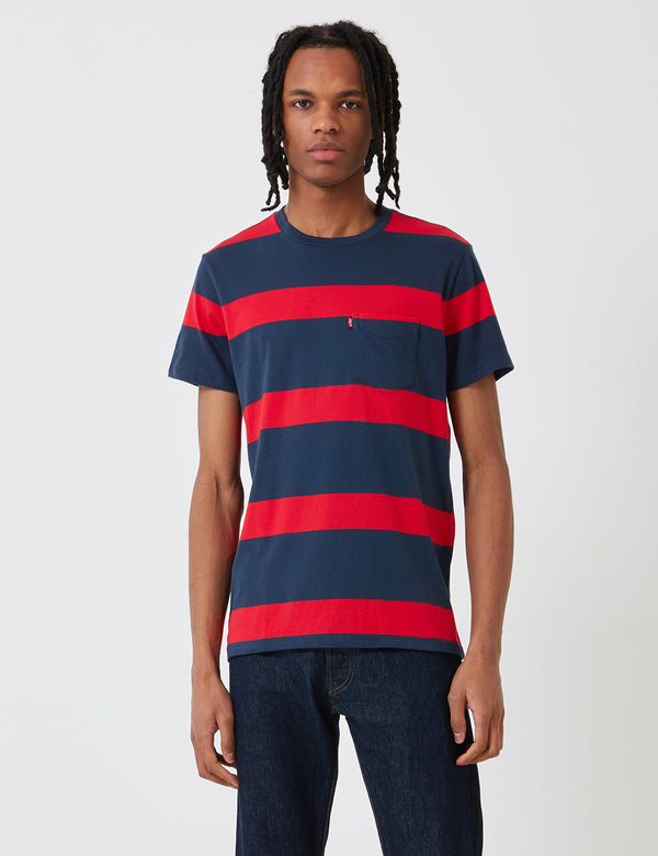 Levis Set-In Sunset Pocket T-Shirt (Stripe) - Dress Blues/Lychee Red