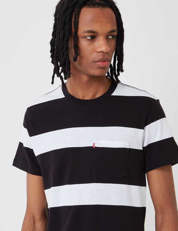 T-shirt Levis Set-In Sunset Pocket (Stripe) - Blanc/Noir
