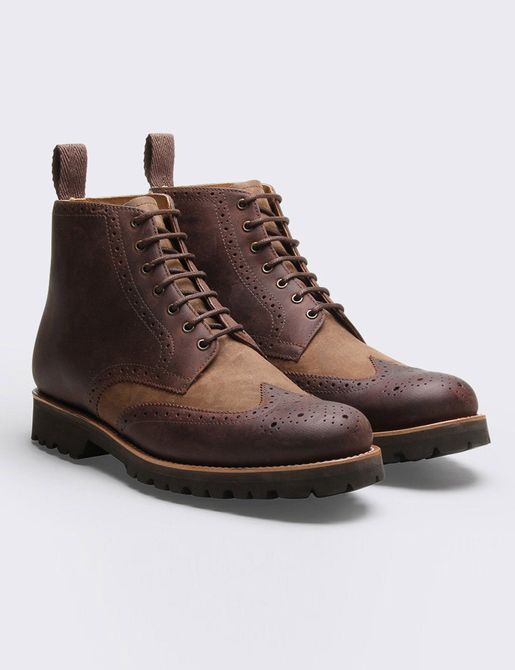 Grenson Sharp Brogue Boot - Walnut/Olive