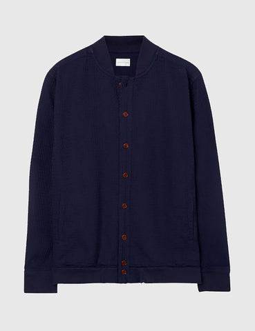 Gant Rugger Heavy Waffle Cardigan - Evening Blue