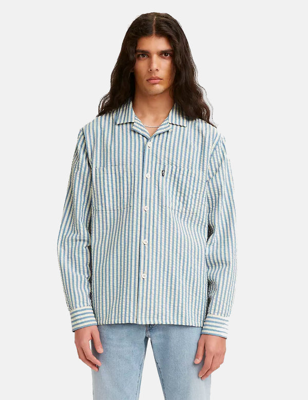 Chemise Camp Levis Made & Crafted - Sea Stripe Blue