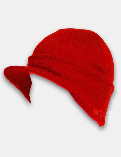 Cuffed Peaked Visor Beanie Hat - Red