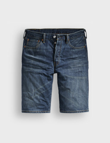 Levis 501 Hemmed Denim Shorts (Straight) - Destiny Street Blue