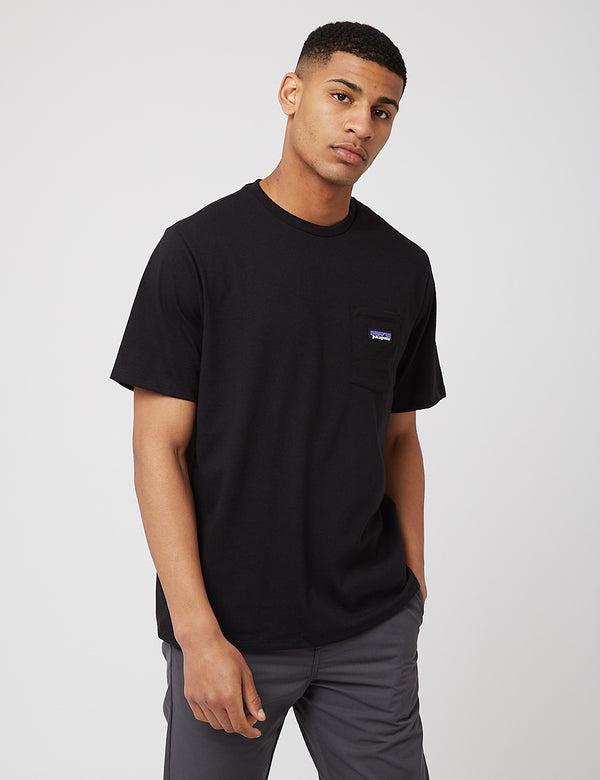 T-Shirt Patagonia P-6 Label Pocket Responsibili-Tee - Black