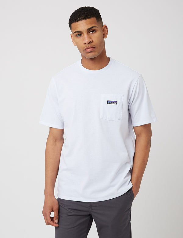 T-Shirt Patagonia P-6 Label Pocket Responsibili-Tee - White