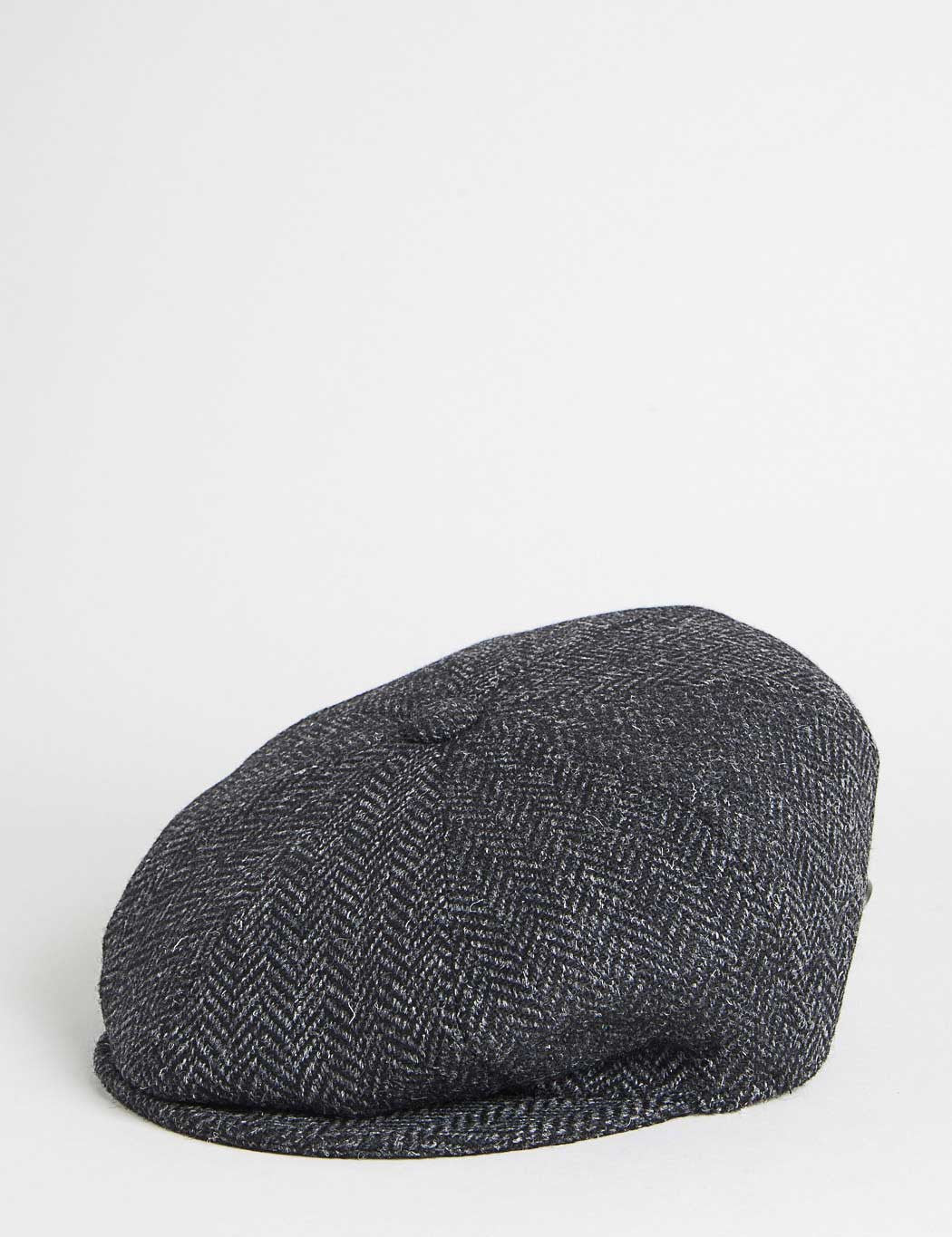 Bailey Galvin Herringbone Newsboy Cap - Black/Grey