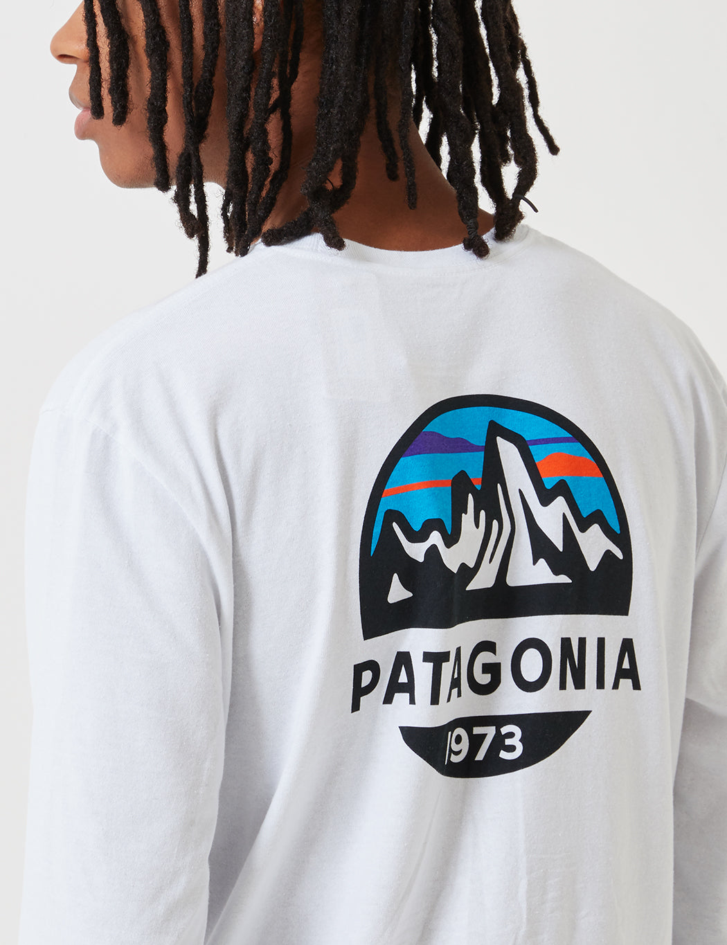 Patagonia Fitz Roy Scope Long Sleeve Responsibili­-Tee T-Shirt - White