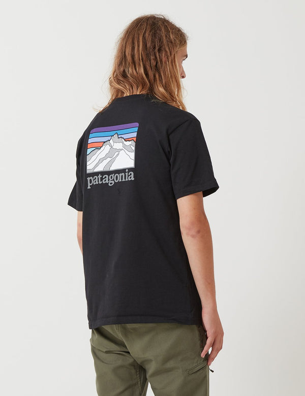 Patagonia Line Ridge Logo Pocket Responsibili-­Tee T­-Shirt - Black/Purple