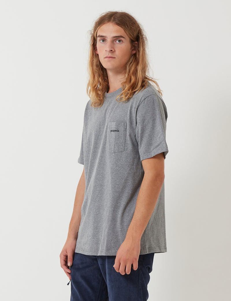 Patagonia Line Ridge Logo Pocket Responsibili-­Tee T­-Shirt - Gravel Heather Grey