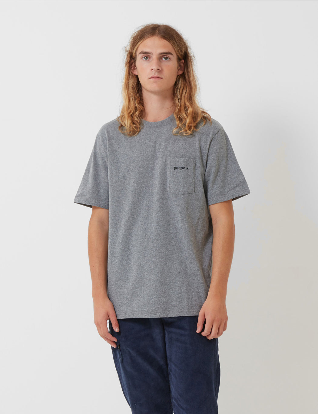 Patagonia Line Ridge Logo Pocket T-Shirt - Gravel Grey| URBAN EXCESS.
