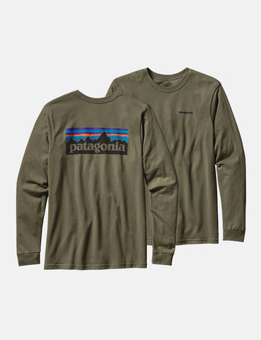 Patagonia P-6 Logo Long Sleeve T-Shirt - Industrial Green