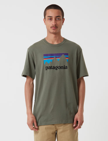 Patagonia Shop Sticker T-Shirt - Industrial Green
