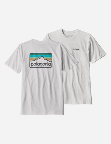 Patagonia Line Logo Badge T-Shirt - White/Dolomite Blue