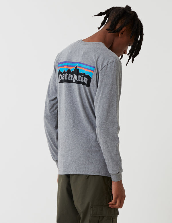 Patagonia P-6 Logo Responsibili-Tee Long Sleeved T-Shirt - Gravel Grey Heather