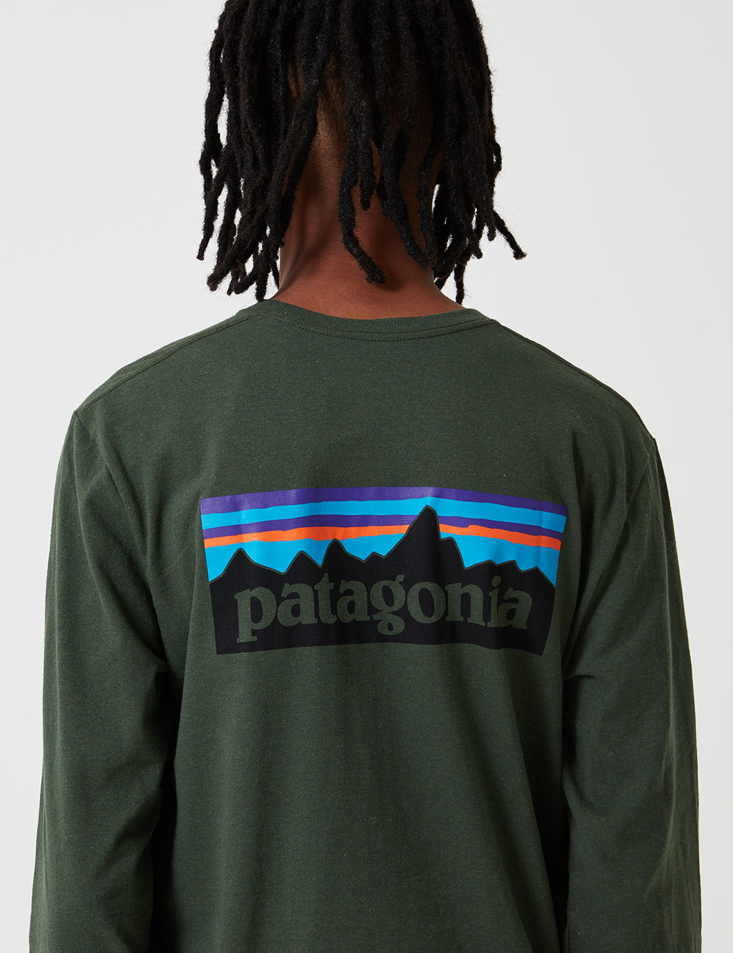 8f7a4324a ... Patagonia P-6 Logo Responsibili-Tee Long Sleeved T-Shirt - Nomad Green  ...