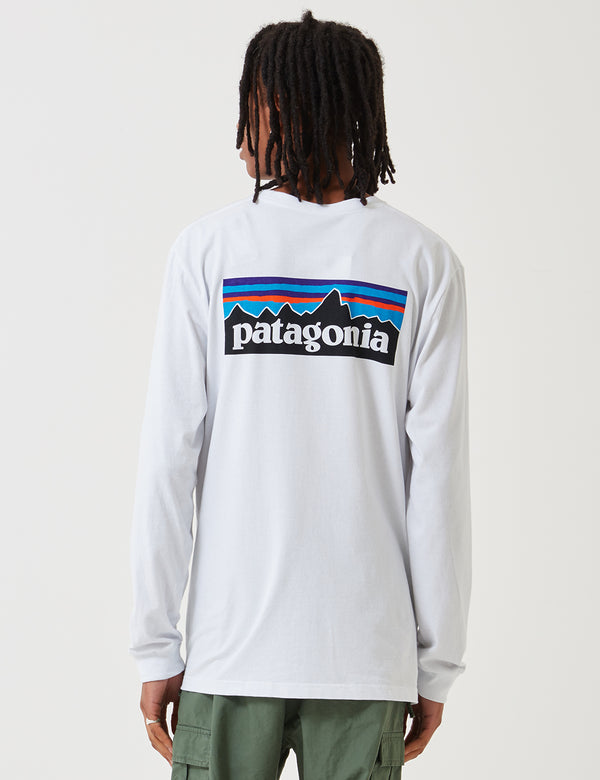 Patagonia P-6 Logo Responsibili-Tee Long Sleeved T-Shirt - White