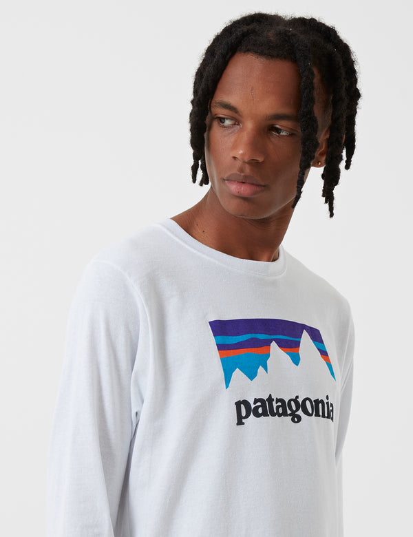 Patagonia Long Sleeve Shop Sticker Responsibili-Tee T Shirt - White