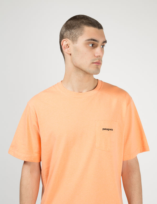 Patagonia P-6 Logo Pocket Responsibili-Tee T-Shirt - Peach Sherbet Orange