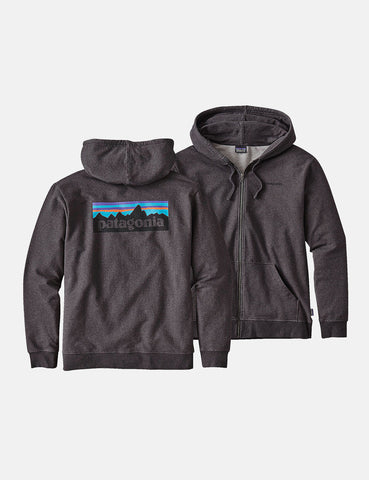 Patagonia P6 Logo Zip-Up Hooded Sweatshirt - Black