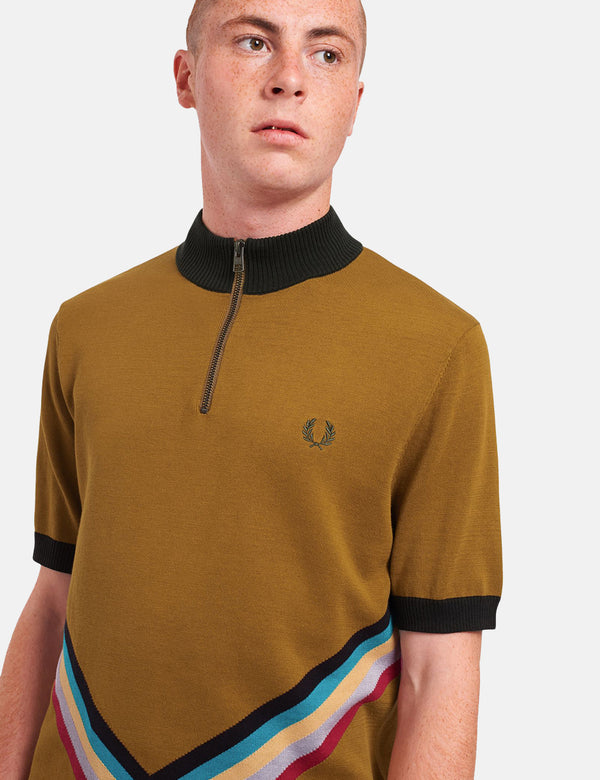 Fred Perry Funnel Neck Knitted Shirt - Dark Caramel