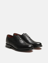 Womens Grenson Rose Brogue Shoes - Black/Black