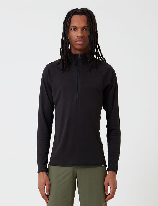 Patagonia Capilene Midweight Zip-Neck Long-Sleeved T-Shirt - Black
