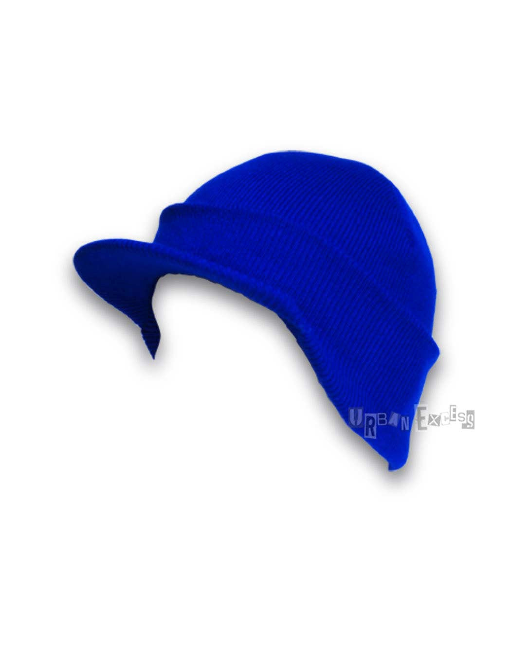 Cuffed Visor Beanie Hat - Royal Blue