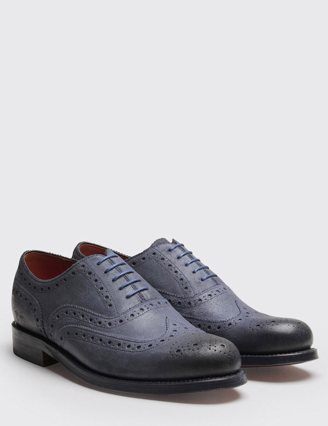 Grenson Stanley Suede Wingcap Brogue - Blue Roughout