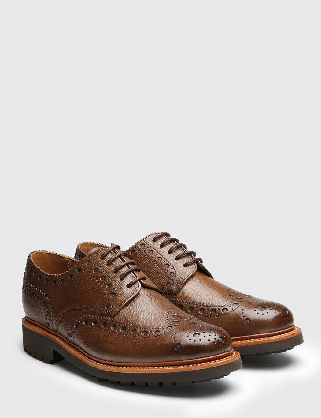 Grenson Archie Commando Sole Brogue Shoes - Brown