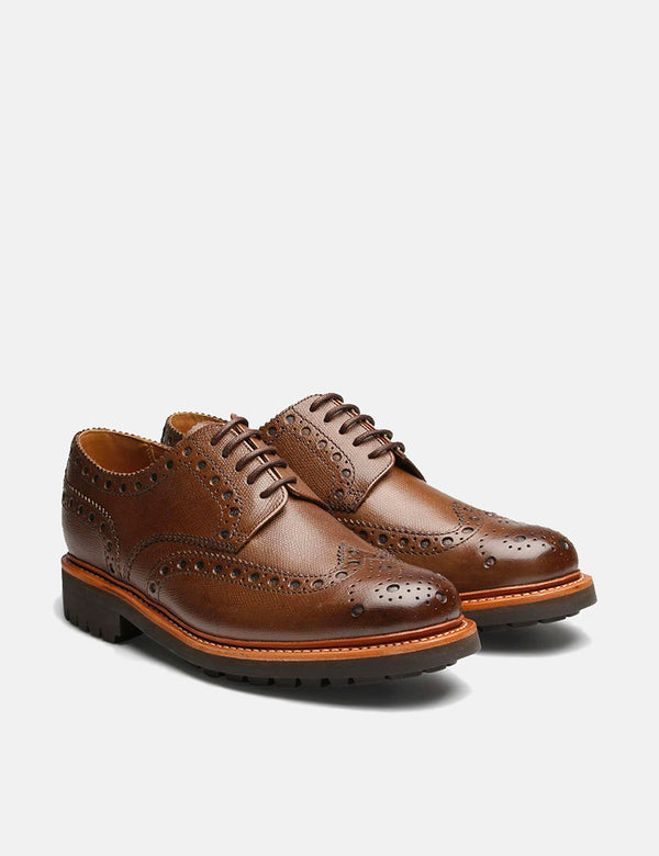 Grenson Archie Brogue Shoes (Commando Sole) - Brown