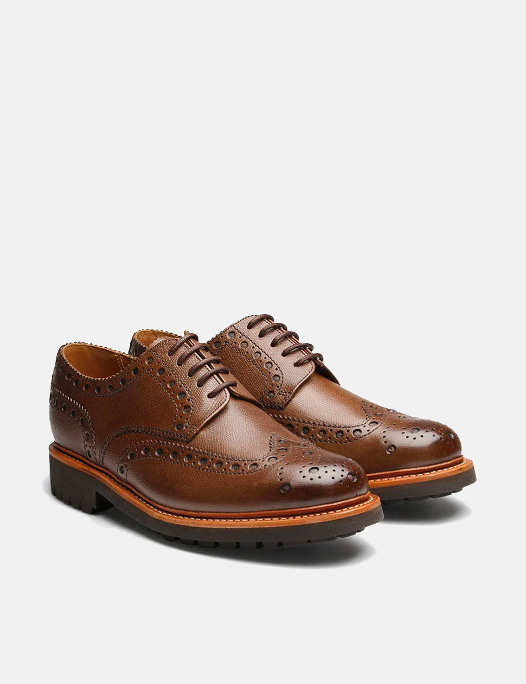 Grenson Archie Commando Sole Brogue Shoes - Brown - Dark Brown / 9 Size down 1