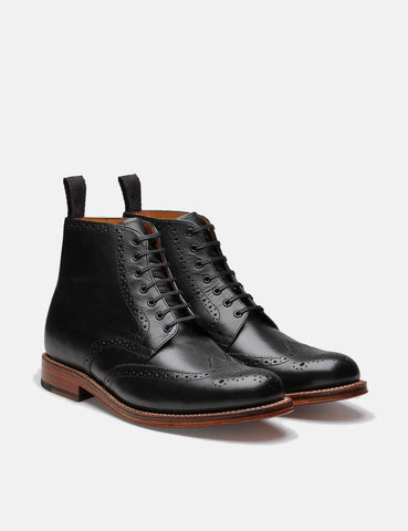 Grenson Alfred Calf Brogue Derby Boot (Leather) - Black