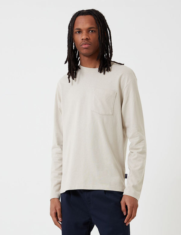 Patagonia Organic Cotton Midweight Pocket Long Sleeve T-Shirt - Pumice