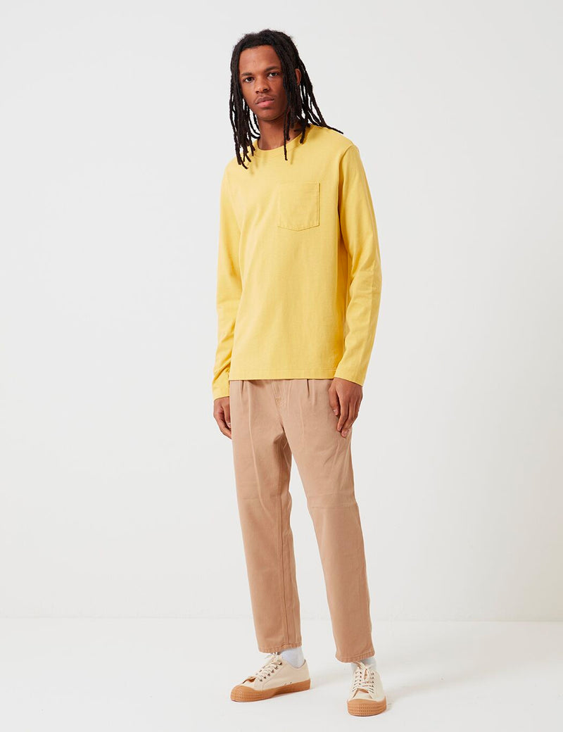 Patagonia Organic Cotton Midweight Pocket Long Sleeve T-Shirt - Surfboard Yellow