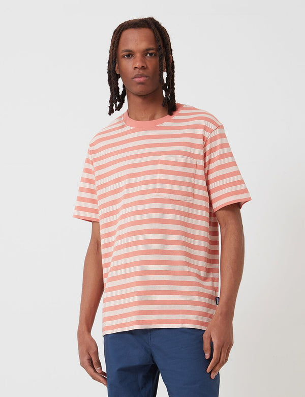Patagonia Organic Cotton Midweight Pocket T-Shirt (Striped) - Mellow Melon