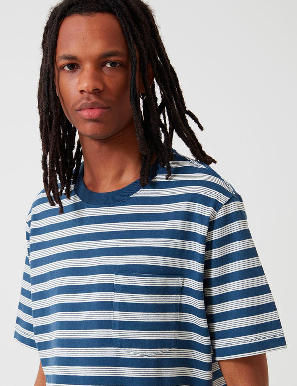 Patagonia Organic Cotton Midweight Pocket T-Shirt (Striped) - Stone Blue