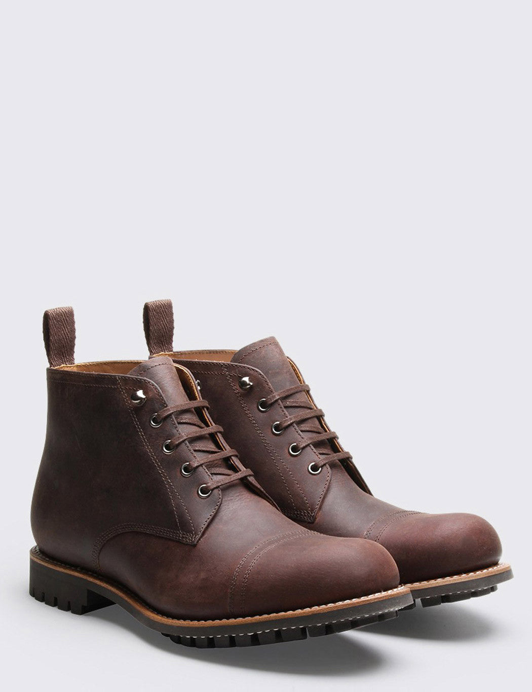 Grenson Ryan Buffalo Hide Boot - Walnut Brown