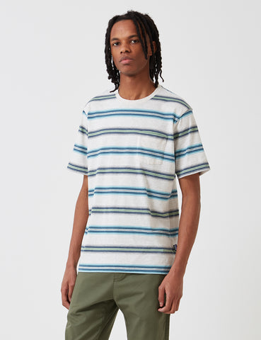 Patagonia Squeaky Clean Stripe Pocket T-Shirt - Tarkine/Pelican Beige