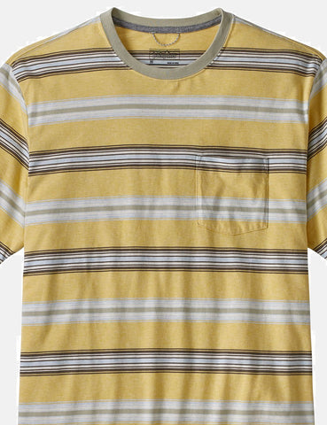 Patagonia Squeaky Clean Stripe Pocket T-Shirt - Surfboard Yellow/Weathered Stone