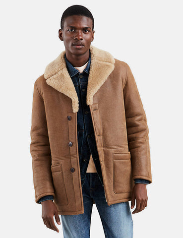 Levis Made & Crafted Shearling Ranch Coat - Bone Brown
