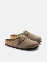Birkenstock Boston Suede Leather (Regular, Soft Footbed) - Taupe
