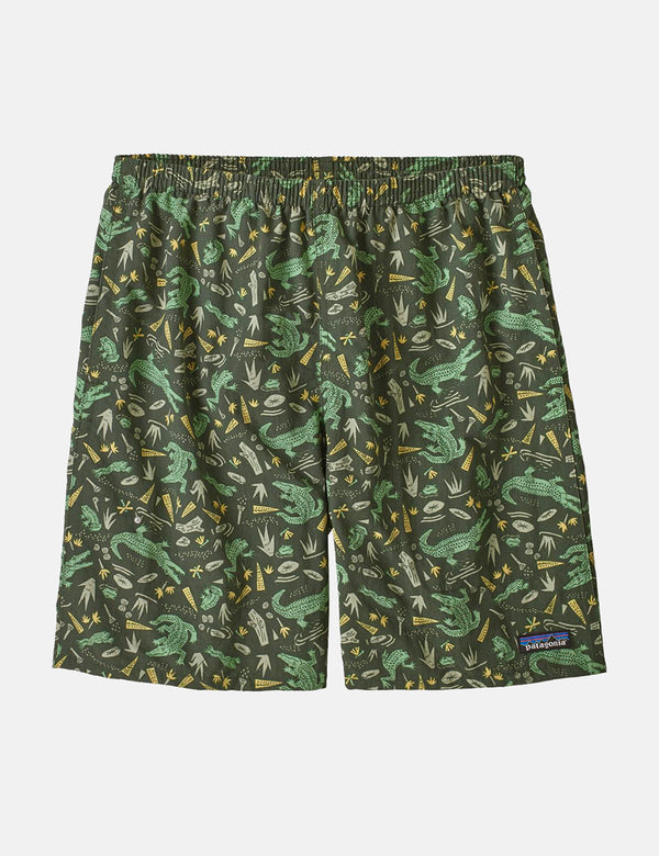 "Patagonia Baggies Longs Shorts (7"" ) - Alligatoren und Bullfrogs: Kale Grün"